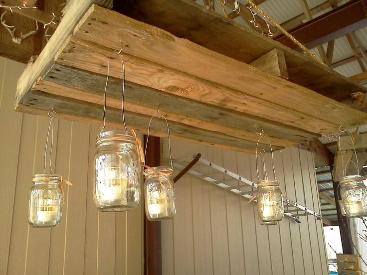 L mparas de techo de palets i love palets for Plafones de madera pared