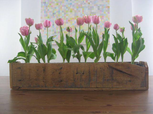 centro floral con palet