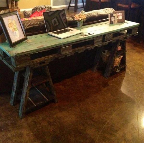 mesa de ordenador con palets