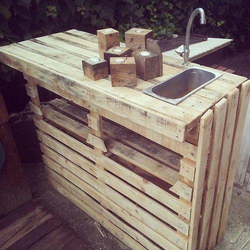 Ideas de mesas de bar para el interior o exterior de la for Muebles con tarimas para cocina