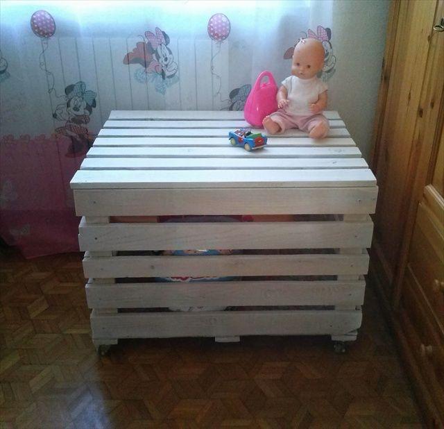 D nde guardar los juguetes en un ba l de palet i love - Baul para guardar juguetes ninos ...