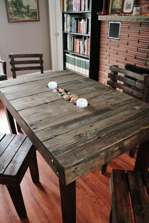 10 ideas de mesas de comedor hechas con palets i love palets for Mesas para bar rusticas