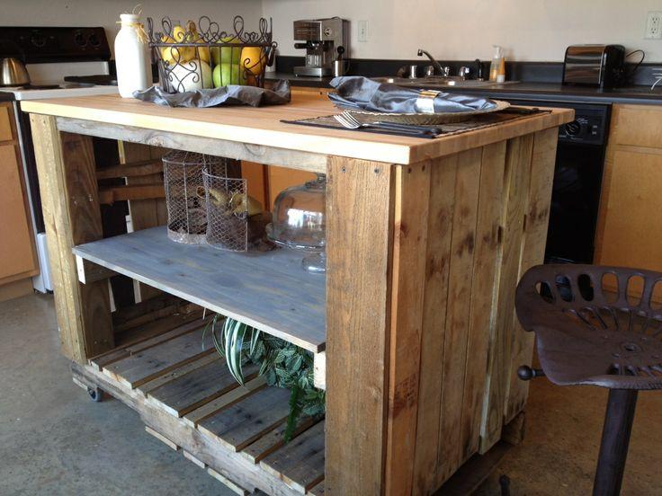 Propuestas de islas para la cocina con palets i love palets for Isla de cocina con mesa