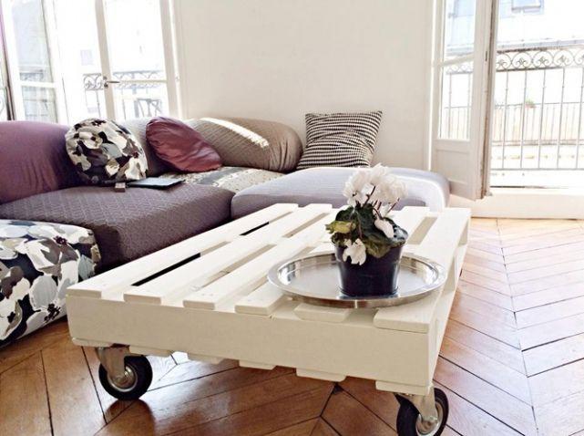 10 propuestas de mesas de palet con ruedas i love palets - Deco jardin avec palettes bois ...