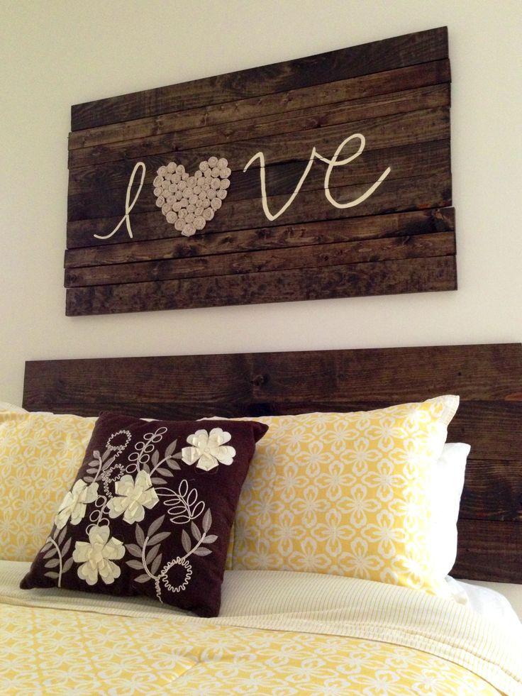 Cabeceros de cama de palets con mensaje i love palets - Cabeceros de cama con palets ...