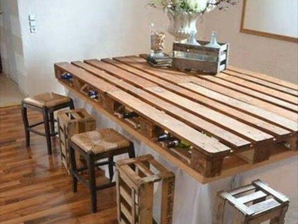 mesa de comedor con palets - Mesas Con Palets