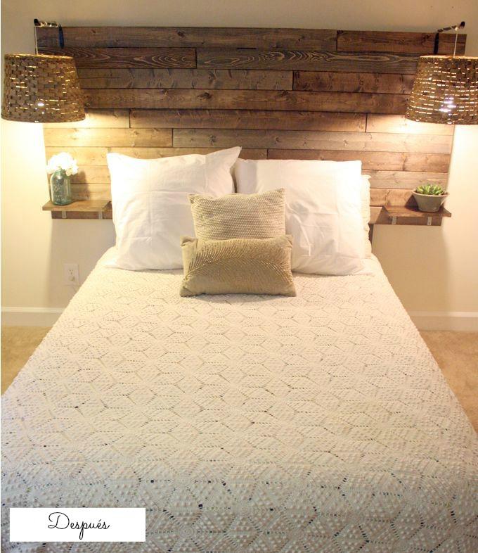 C mo renovar tu habitaci n con buen gusto y con palets i for Lamparas cabezal cama