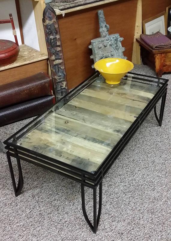 mesa de palets de cristal