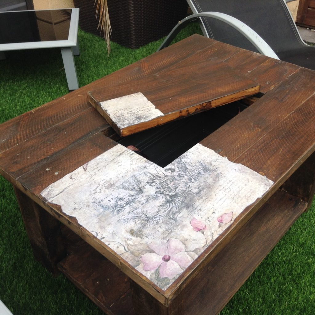mesa de palets con cubitera