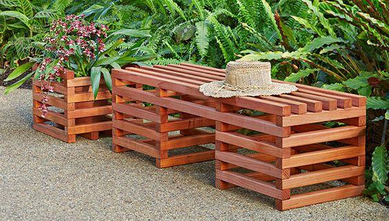 5 Bancos De Palet Integrados En El Jardin O Terraza I Love Palets - Banco-de-palets