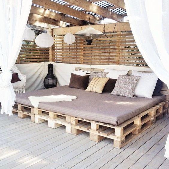 Bonitos Muebles Terraza Palet Rincn Chill Out Con Tablas De