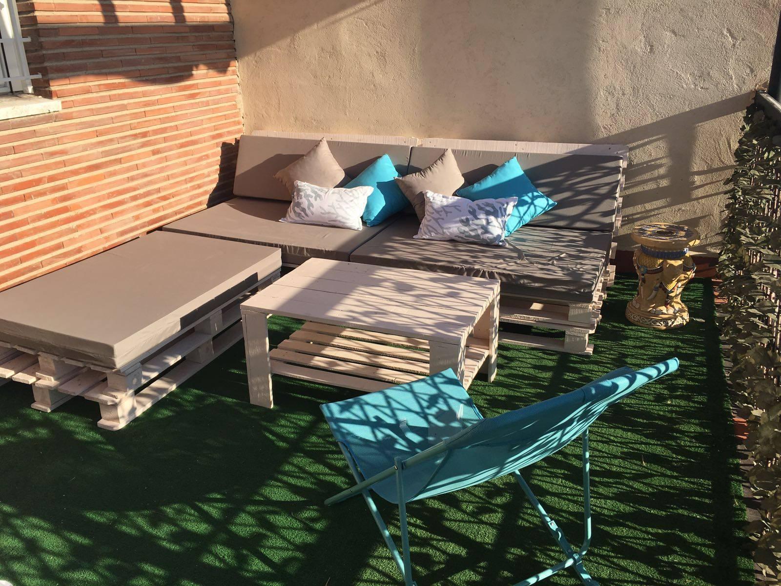 conjunto de terraza de palets