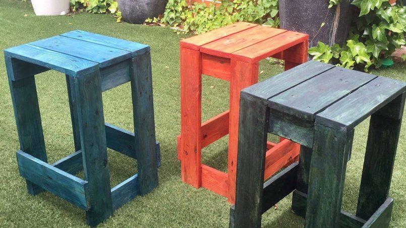 taburetes de palet ideas con palets