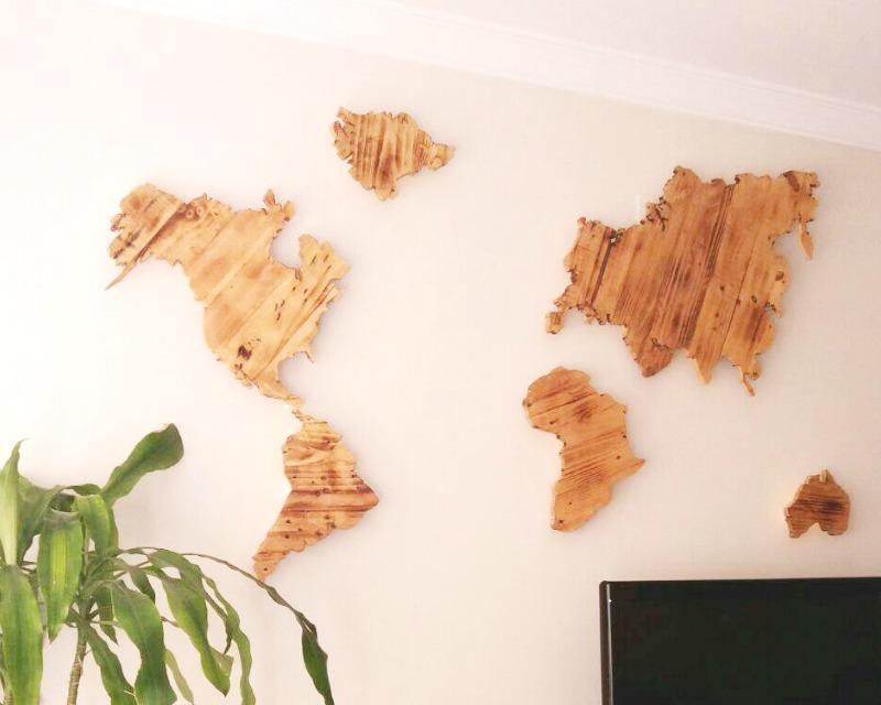Decorar con palets una pared con un mapamundi i love palets - Decorar paredes con palets ...