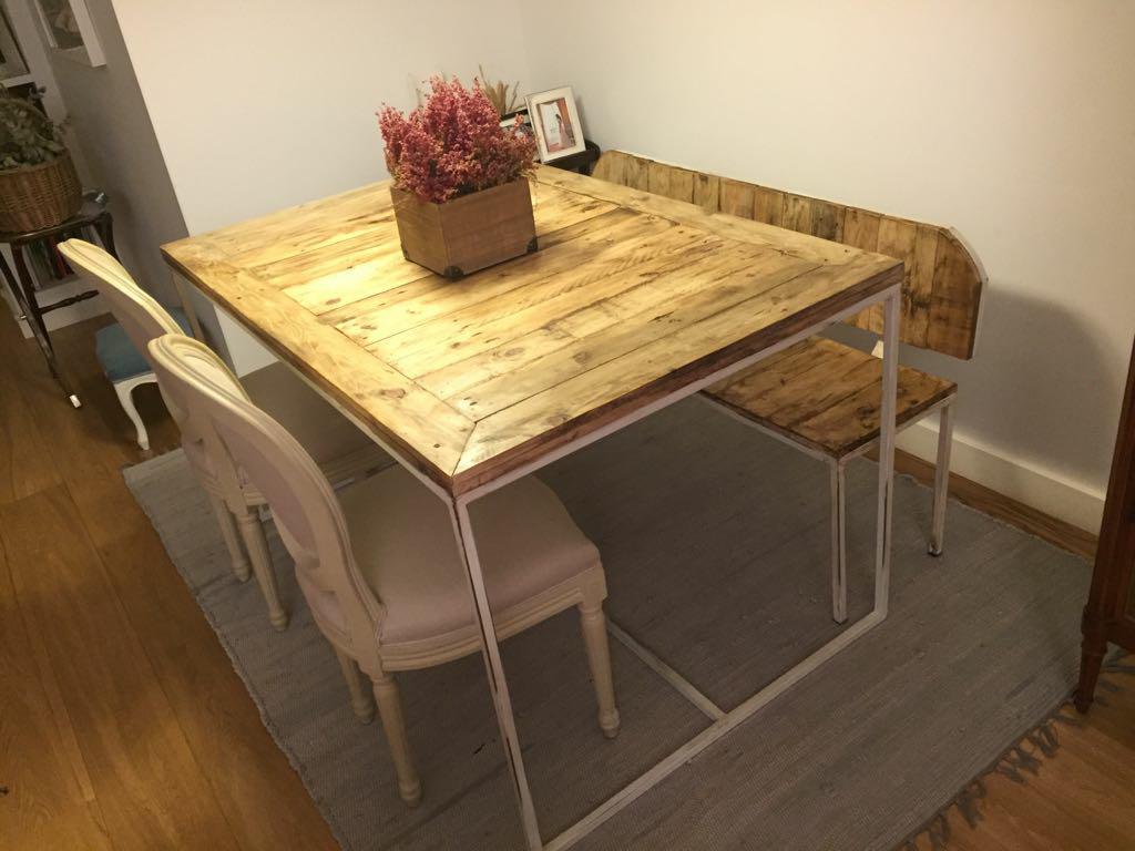 Una mesa y un banco de palets y hierro para el comedor i - Mesa de palets bricolaje ...