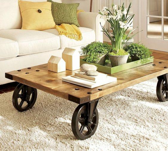 mesas de palets con ruedas