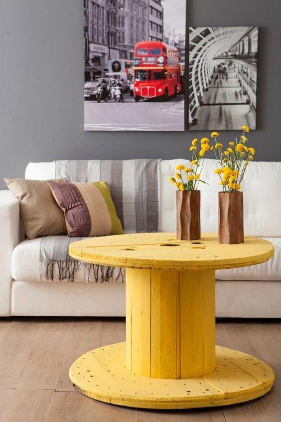 mesa para el salón de bobina de cable