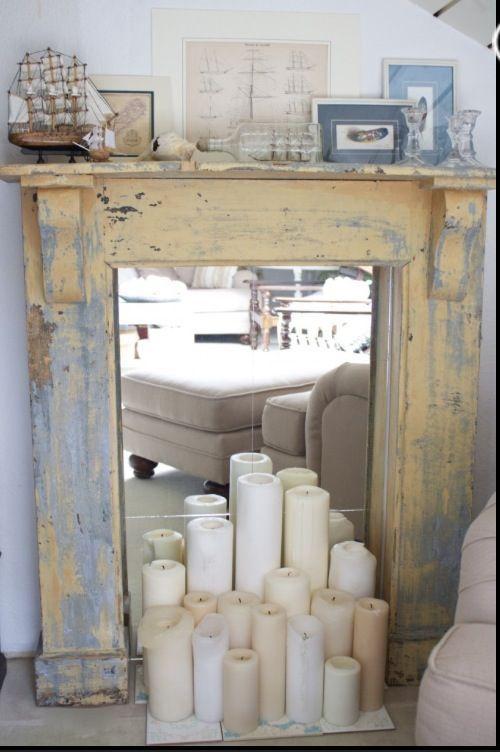 chimenea decorativa con palets