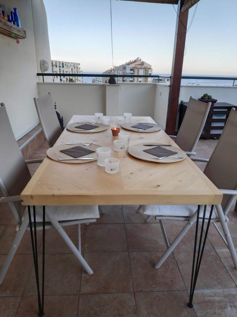 mesa con palets para terraza