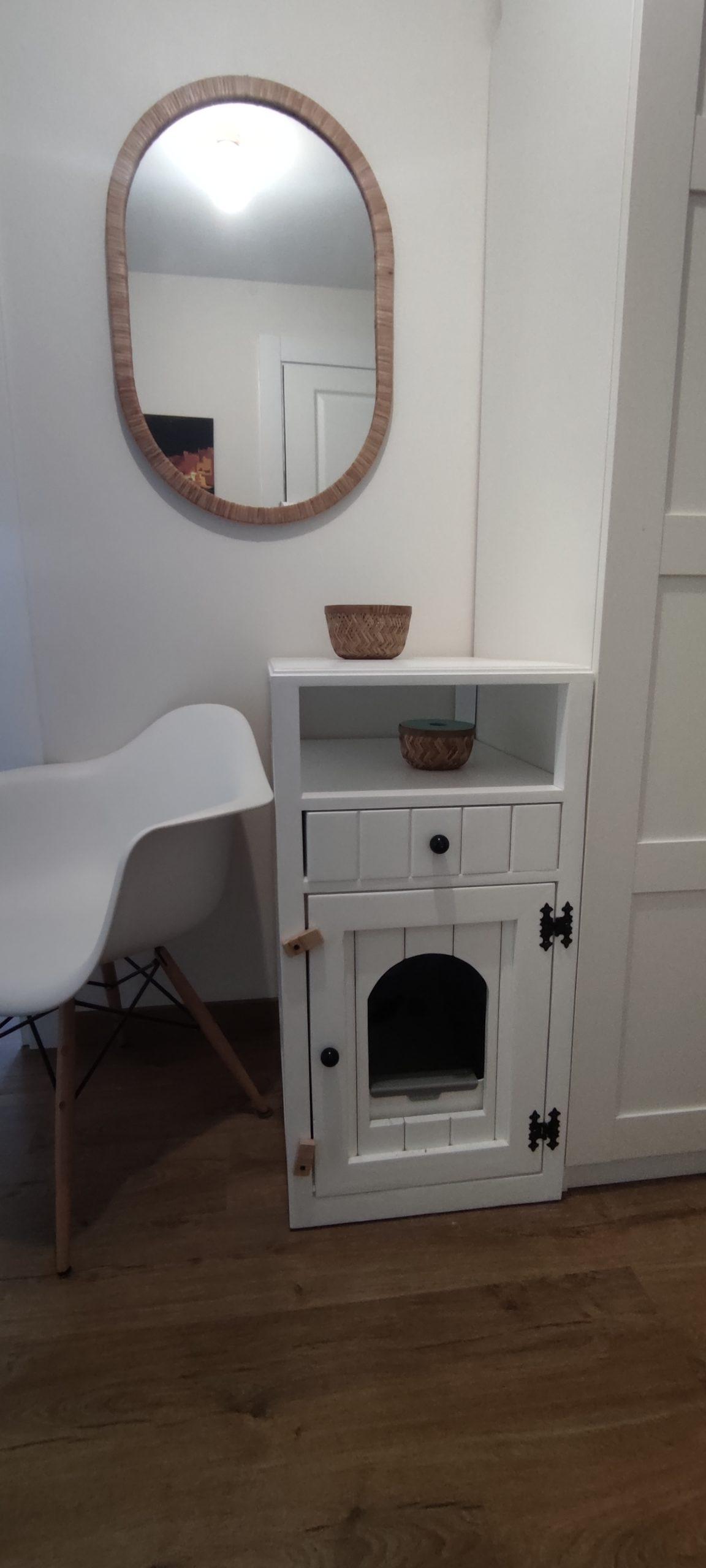 mueble arenero para gatos con palets